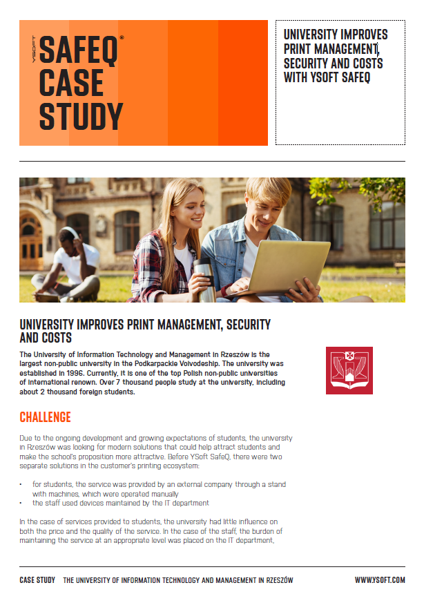 University improves print management, security and costs with YSoft SafeQ