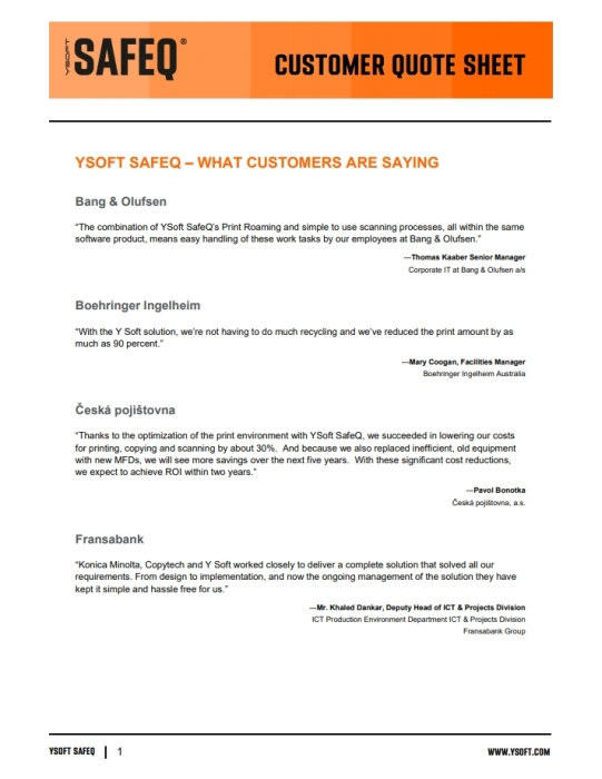 YSoft SafeQ Customer Quotes